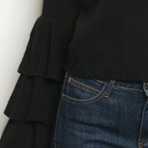 Sweaters - BLACK TIERED SLEEVED SWEATER